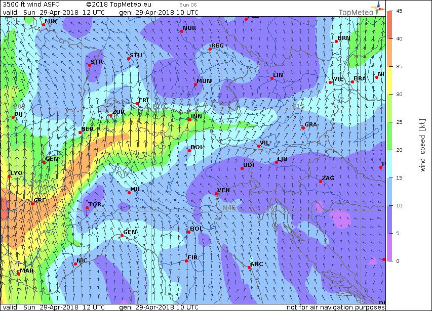 Windkarte, gute Bedingungen für eine Föhnlflug
